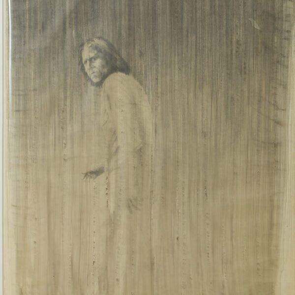 trampedach - gående mand i regn - 130x100 - solgt